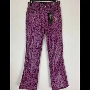 Revolt Pink Faux Snake Skin Pants Fit & Flair